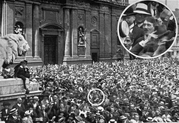 Photograph with inset showing a young Adolf Hitler attending a rally celebrating the German declaration of war. Hitler's World War I military service later helped to shape his nationalist racial ideology. Munich, Germany, August 1914.
