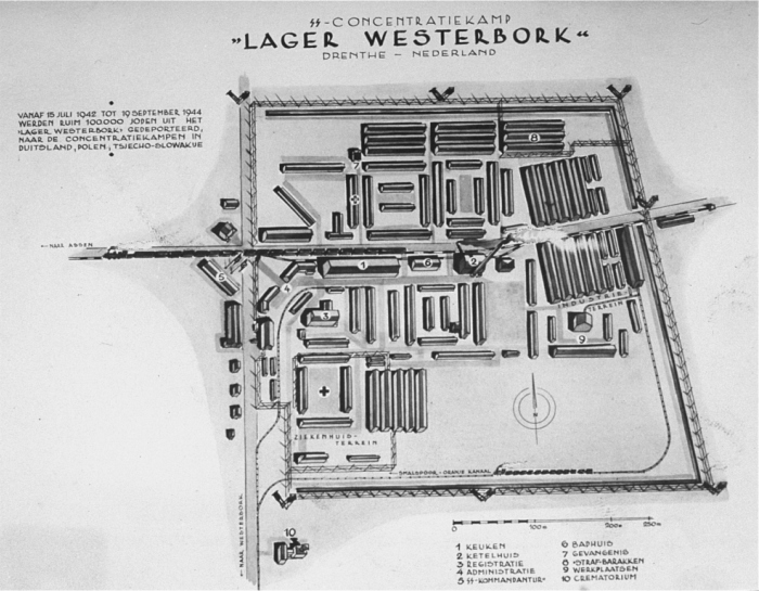 A map of the Westerbork transit camp. Until July 1942, Westerbork was a refugee camp for Jews who had moved illegally to the Netherlands. After the German conquest of the Netherlands, Westerbork was expanded into a transit camp for Jews deported from the Netherlands to killing centers.