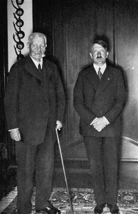 Reich President Paul von Hindenburg with Reich Chancellor Adolf Hitler. 1933–1945.