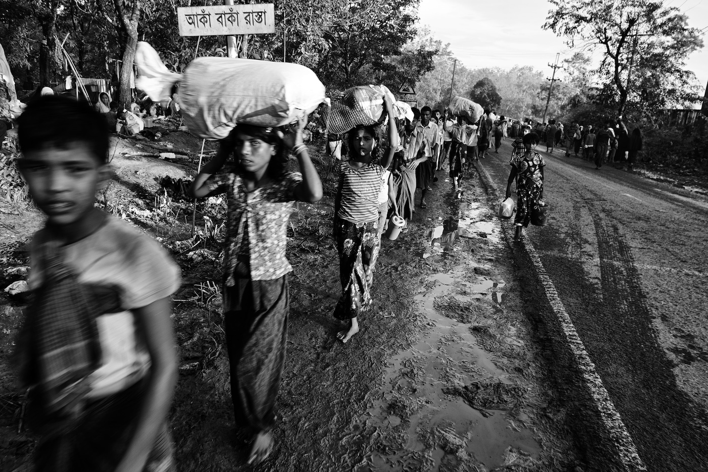 Hundreds of thousands of Rohingya have flooded into southern Bangladesh. The north-south highway between Cox's Bazar and Teknaf is a steady flow of Rohingya refugees, September 2017.