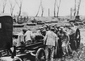 Prisoners at forced labor constructing the Krupp factory at Auschwitz. Poland, 1942–43.