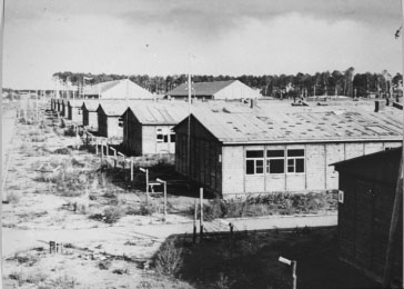 A view of barracks in the Stutthof concentration camp, taken after the liberation of the camp. Stutthof, near Danzig, 1945.
