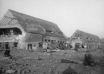 View of the ruins of the central barracks (Boelke Kaserne) in the Nordhausen concentration camp.