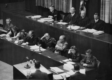 American judges (top row, from left) Harold Sebring, Walter B. Beals, Johnson Crawford, and Victor Swearingen during the Doctors Trial, which was held in Nuremberg, Germany, from December 9, 1946, to August 20, 1947.