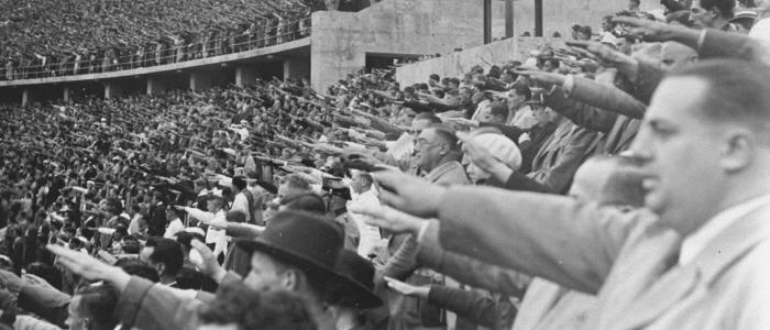 German citizens saluting Adolf Hitler at the opening of the 11th Olympiad in Berlin.