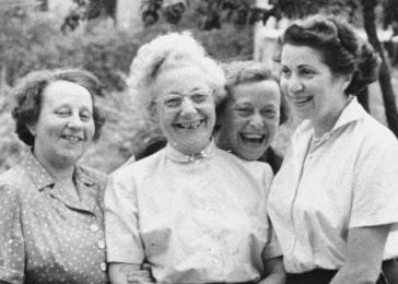 Margit Pick (right) poses with her aunt and two cousins outside the Pick home in Budapest.