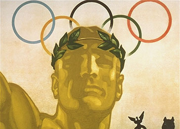 The official poster advertising, in English, the 11th Summer Olympic Games. The poster was created by Franz Wurbel.