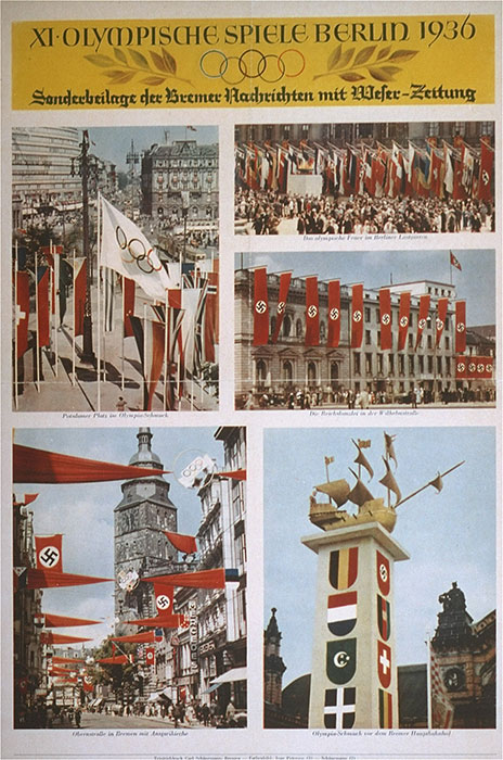 An insert section of the Weser newspaper of Bremen, showing colorful pictures of Olympic decorations in Berlin and Bremen.