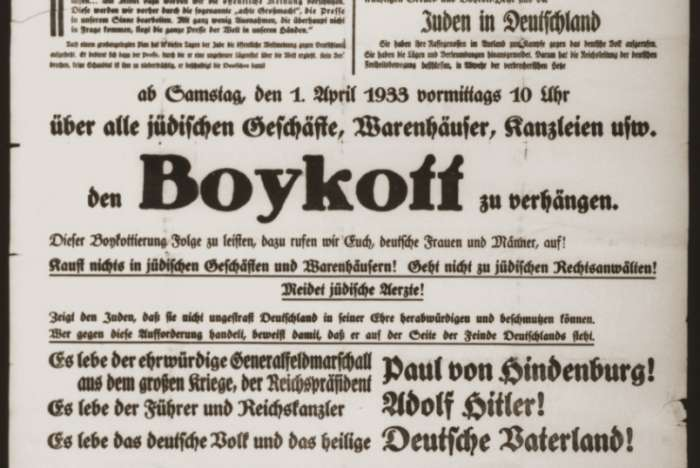 Public notice, issued by the Central Committee for the Defense against Jewish Atrocities and the Boycott, instructing Germans to protect themselves against the Jews by boycotting Jewish businesses and Jewish professionals on April 1, 1933.