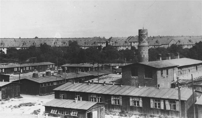 View of the Biesinitzer Grund (Goerlitz) concentration camp, a subcamp of Gross-Rosen, after liberation. Poland, May 1945.