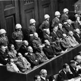 The defendants in the dock at the International Military Tribunal at Nuremberg.