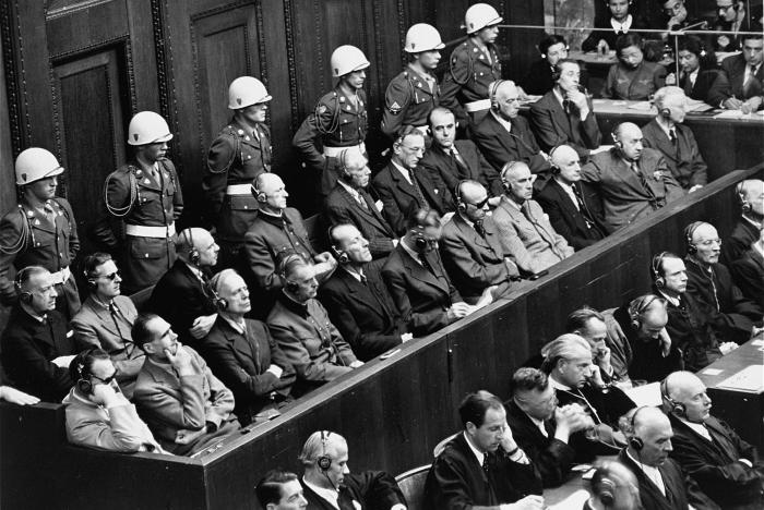 The defendants in the dock listen to the proceedings at the International Military Tribunal trial of war criminals at Nuremberg.