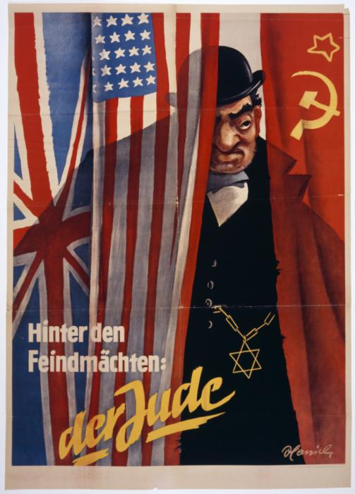 "Bruno Hanisch, ""Behind the Enemy Powers: the Jew,"" ca. 1942. During World War II, Nazi propagandists frequently depicted ""the Jew"" as a conspirator plotting world domination by acting behind the scenes in nations at war with Germany. This caricature represents the ""Jewish financier"" manipulating the Allies, Great Britain, the United States, and the Soviet Union. <i> US Holocaust Memorial Museum, gift of Helmut Eschwege</i>"