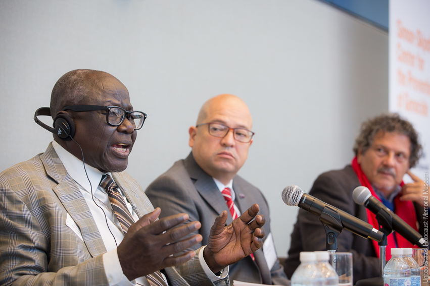 Souleymane Guengueng, Fredy Peccerelli, Reed Brody at the Ferencz International Justice Initiative's inaugural convening in November 2017.