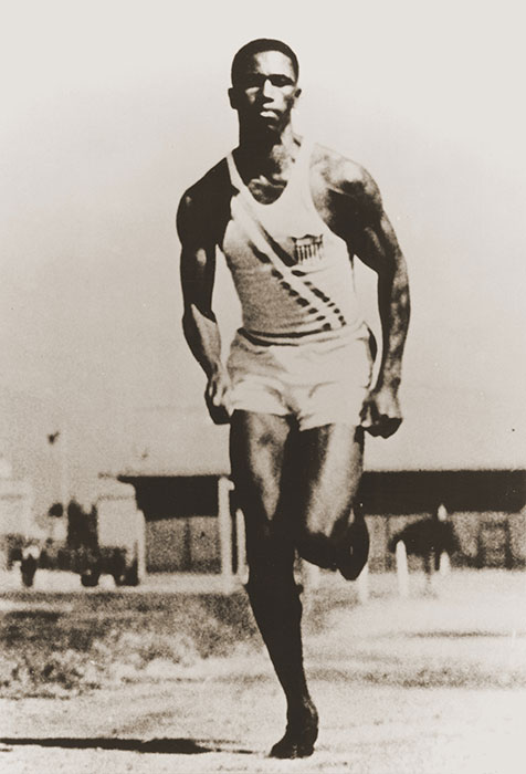 American Olympic runner Mack Robinson training at the summer games in Berlin. Robinson, the older brother of American baseball star Jackie Robinson, won the silver in the 200m event, finishing second to Jesse Owens.
