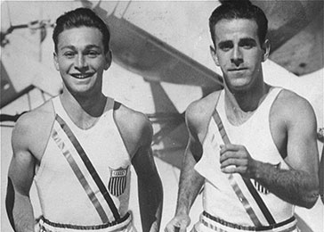 Marty Glickman and Sam Stoller, members of the United States track team, train on board the USS Manhattan, on their way to the 11th Summer Olympic Games in Berlin.