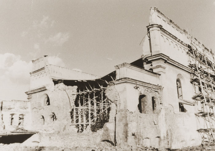 View of the ruins of the main synagogue in Brody, Ukraine.