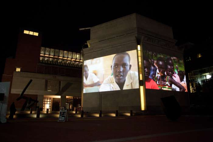 In a special nighttime exhibition over three evenings in November, the Holocaust Museum projected images from South Sudan onto its exterior walls. <i>US Holocaust Memorial Museum</i>