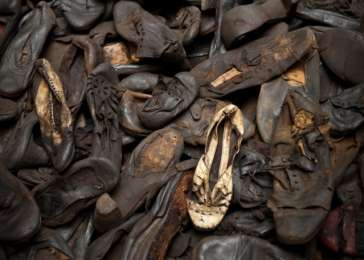 Shoes confiscated from prisoners at Majdanek, on loan from the State Museum of Majdanek, Lublin, Poland.