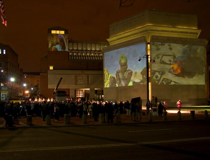 On November 20, 2006, the Museum projected wall-sized images of the escalating genocide in Darfur onto its facade.