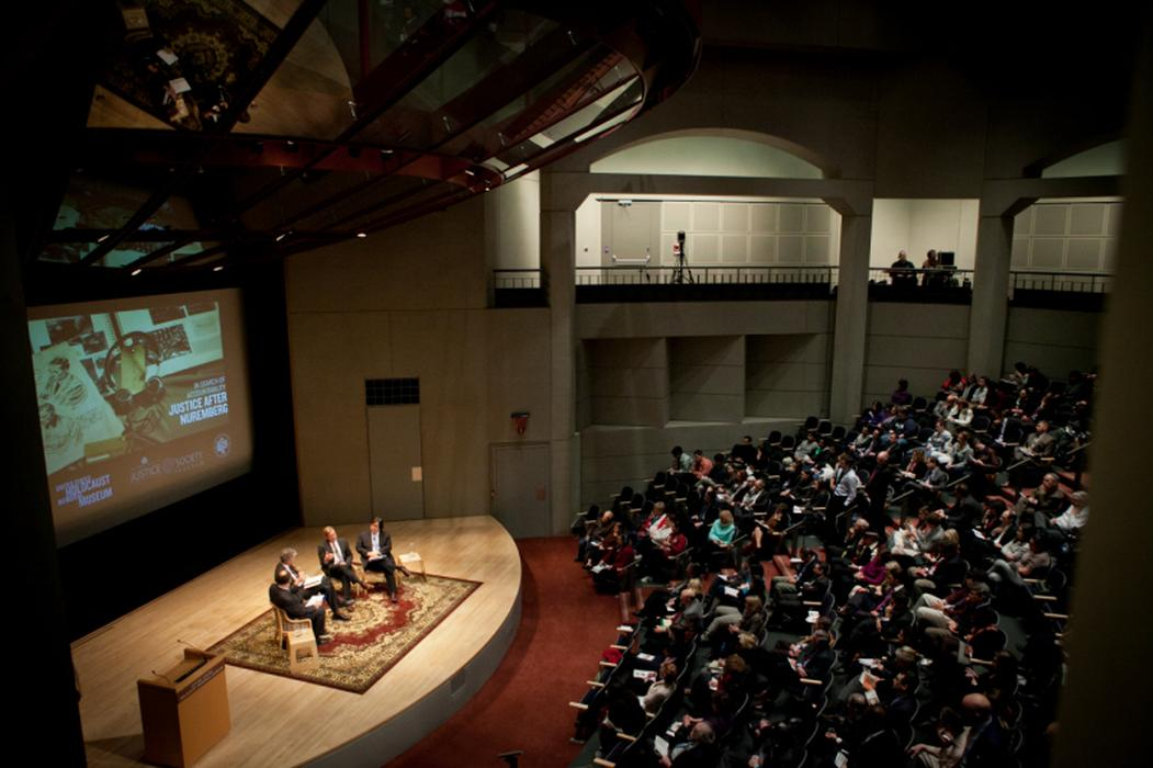 The discussion drew a large audience of concerned citizens to the Museum's Meyerhoff Theater. <i>United States Holocaust Memorial Museum</i>