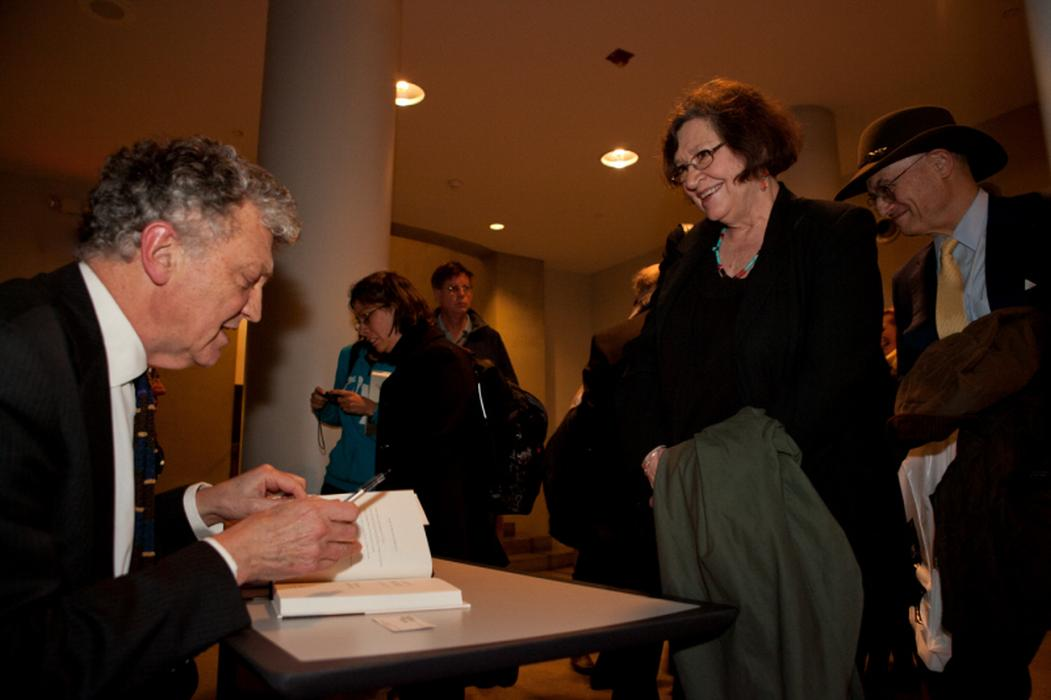 William Shawcross signs his new book, <i>Justice and the Enemy</i>, following the program. <i>United States Holocaust Memorial Museum</i>