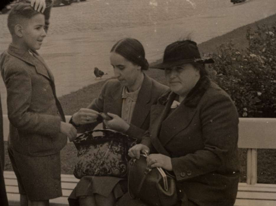 Franz Liebermann and his mother Lotte Lieberman visit a park shortly before they emigrated from Nazi Germany.  is seated on the left. Franz's grandmother Hedwig Orgler is on the right.