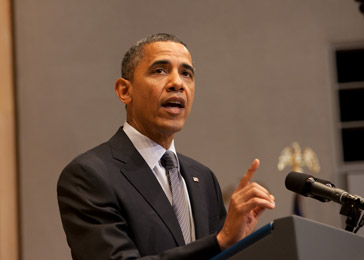 President Obama announces the creation of the Atrocities Prevention Board at the Museum in April 2012.