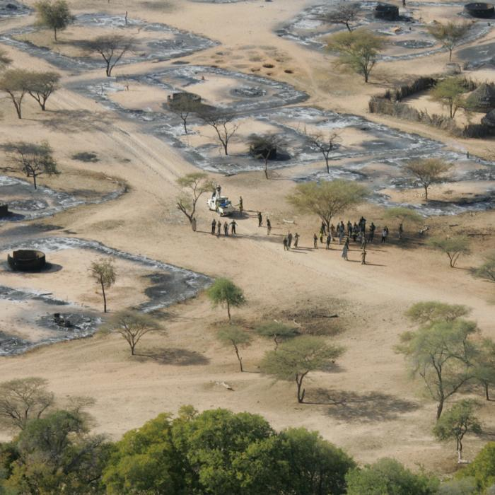 The burnt village of Um Ziefa in Darfur, Sudan. December 12, 2004.