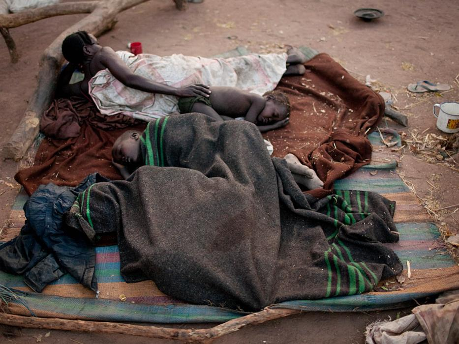 Nuba refugees sleep rough in the Yida refugee camp. <i>Pete Muller for US Holocaust Memorial Museum</i>