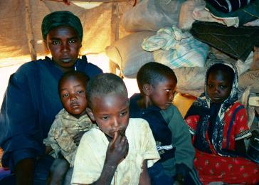 Iridimi refugee camp, Chad. Hawa Salihdin and her children. Her father, her brother, her cousin and 30 other people were killed when the militias attacked her village. Her mother, Hadiya Ahmed, disappeared and is still missing. May 2004. <i>US Holocaust Memorial Museum</i>