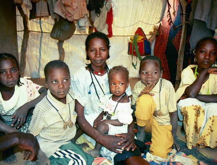 Iridimi refugee camp, Chad. Hadiya Adam Abdullah and her children. Her husband was kidnapped by the janjaweed when they attacked her village. She doesn't know whether he is dead or alive. <i>US Holocaust Memorial Museum</i>