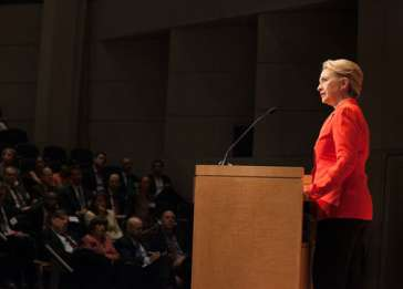Secretary of State Hillary Clinton delivers the keynote address at a Museum symposium on ending genocide.