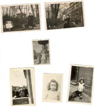 Top: Barbara and Wolfgang in Warsaw; bottom row: (from left) Barbara with the Kaczmareks in Sieraków, Barbara by herself.
