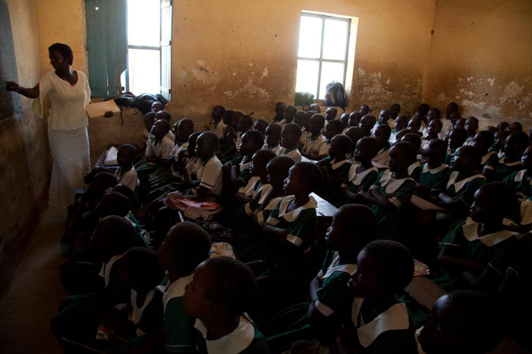 At St. Joseph&#8217;s School, as in many schools in Juba, South Sudan, classes are crowded and teachers are underpaid.&nbsp; <i>US Holocaust Memorial Museum, gift of Lucian Perkins</i>