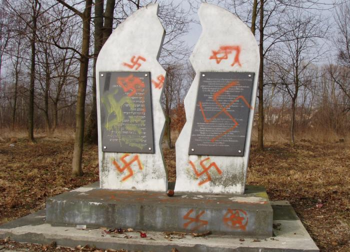 A defaced Holocaust memorial in Wysokie Mazowieckie, Poland, 2012. <i>Courtesy of the Foundation for the Preservation of Jewish Heritage in Poland (FODZ)</i>