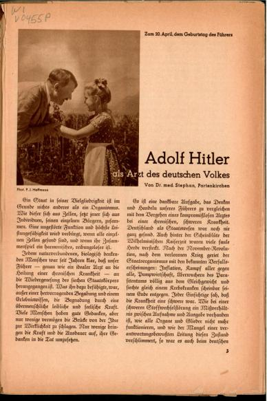 "&#8220;Adolf Hitler as the Doctor of the German Nation,"" National Health Guardian, 1935. Rudolf Hess referred to Nazism as ""applied biology."" <i>National Library of Medicine, Bethesda, MD</i>"