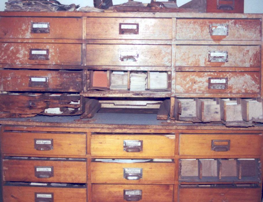 One of several name card cabinets found in 2000 among a large trove of Holocaust-era archival records in a vacant apartment in Vienna.
