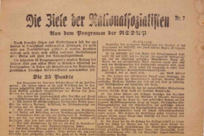 "25-Point Nazi Party program—Nazi Party members publicly declare their intention to segregate Jews from ""Aryan"" society and to abrogate Jews' political, legal, and civil rights."