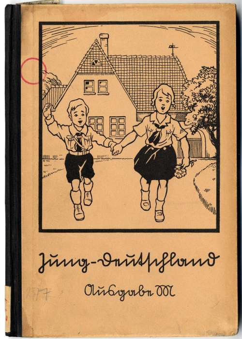 Cover of a primary school reader. School curriculum under the Nazis stressed love and obedience to Hitler (the <i>Führer</i>), race consciousness and military preparation.
