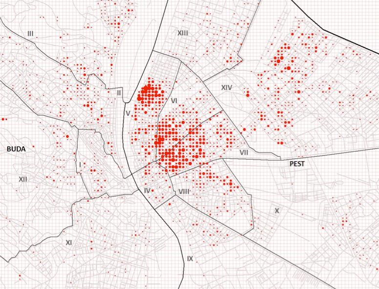 Number of Jewish-designated residences (22 June 1944) per 100 m square cell. The size of the circles is proportional to the number of residences and varies between 1 and 13. Selected districts in Buda and Pest.