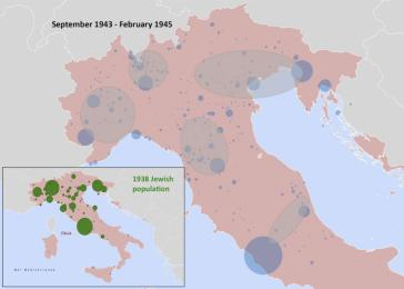 The national scale: arrest clusters. The clusters identify areas of concentration of arrests. The blue symbols are proportional to the number of arrests at single locations; the largest symbol identifies Rome, with over 1600 arrests. The inset map shows the distribution of Jewish population in 1938; the largest symbol identifies Rome, with over 12,000 residents. Holian.