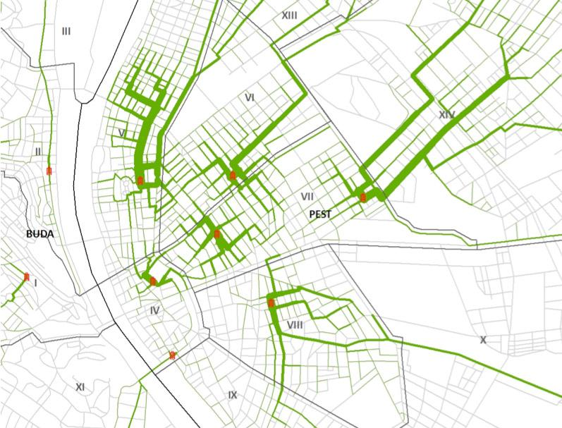 Estimate of streets most likely to be used by Jews walking to the closest market hall during the time window (2-5 pm) they were allowed to leave their place of residence. The thickness of the green line varies between 1 and 512. Selected districts in Pest.