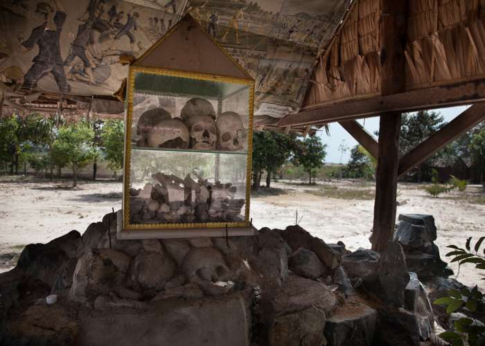 Skulls and bones from a mass grave in Cambodia's Kampong Chhnang province are now part of a memorial near the grave site. October 2012.