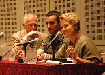 Translator, Tarik Samarah and Ambassador Swanee Hunt.
