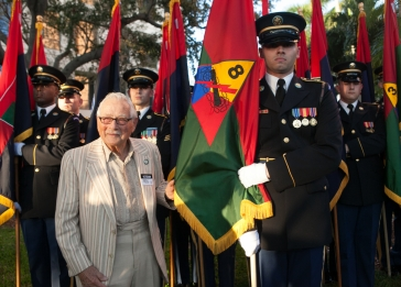 A ceremony during United States Holocaust Memorial Museum's 20th Anniversary National Tour honored Holocaust survivors and WWII veterans and featured the presentation of the liberating division flags and the national colors.