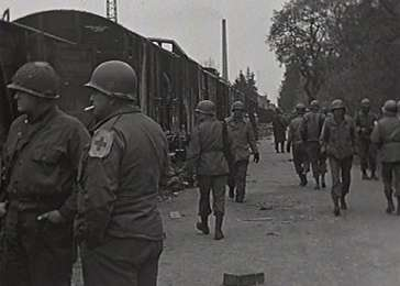 American soldiers at Dachau, April 1945.