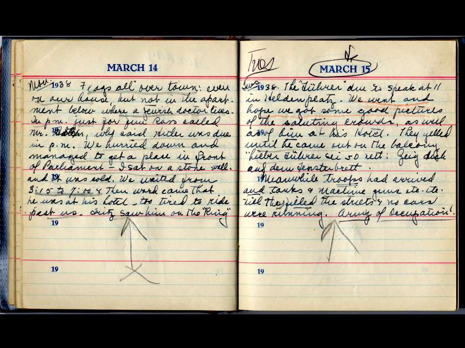 Pages from the diary of Helen Baker.