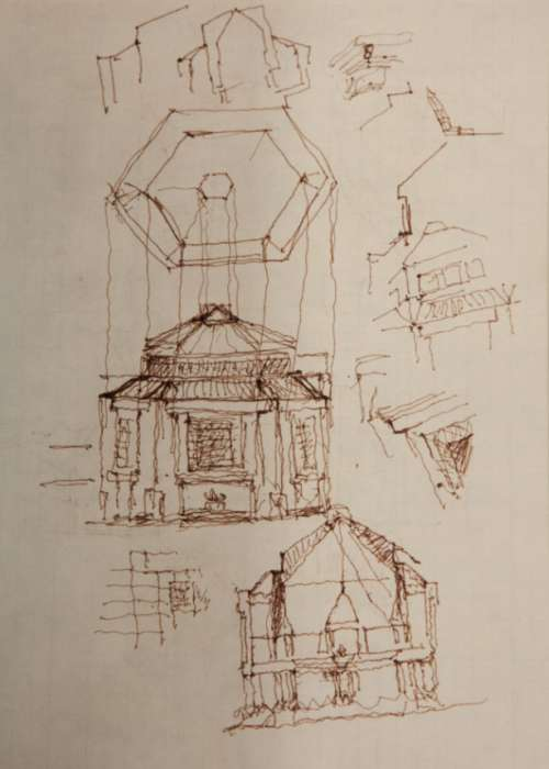 Architect James Ingo Freed's sketch of the Hall of Remembrance.