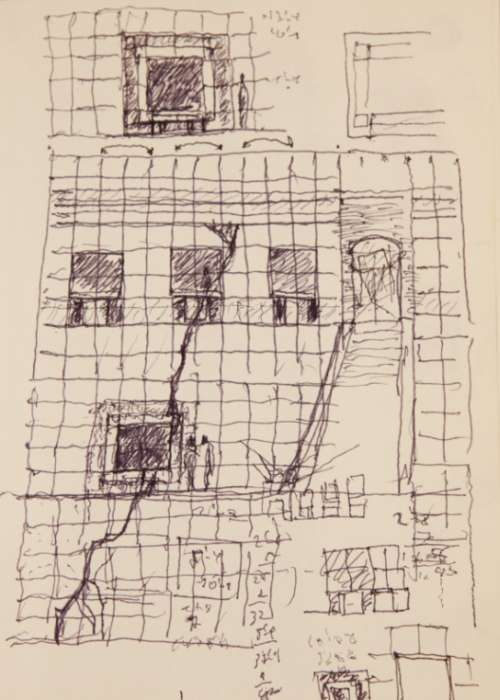Architect James Ingo Freed's sketch of the Museum's west wall and main staircase in the Hall of Witness.
